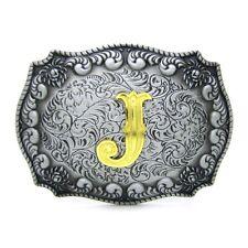 """New Celtic Keltic Gold Initial Letter """"J"""" Belt Buckles Floral Design Rectangle"""