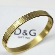 """DG Men's Gold Stainless Steel 7"""" Design Bangle Bracelet Unisex + BOX"""