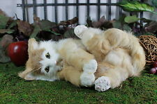 Tan Brown White Cat Playing Post Adorable Furry Animal Taxidermy Figurine Kitty
