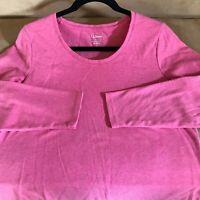 LL Bean Women's Thicker 100% Cotton Soft Shirt Long Sleeve Pink Top Size M