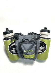 New - LL Bean Gray/Green Hiking Fanny Pack Waist Bag w/ 2 Water Bottle Holders