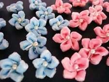 40 Hand Made Pink/Blue Velvet Ribbon Flower Bow/Pearl Trim/velvour F71-Color