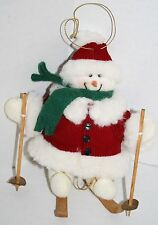 "SNOWMAN 6"" Christmas Ornament Skiing Wooden Poles Ski Plush Red Coat Hat Stuffed"
