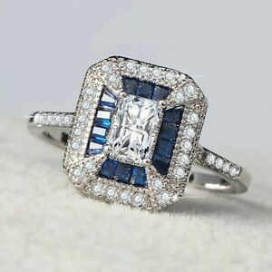 1.36CT 14K White Gold Plated SSilver .925 Blue & Clear Topaz Ring Size 6, KK67