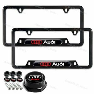 2PCS For AUDI Black Metal Stainless License Plate Frame W/ Caps Bolt Screw SET