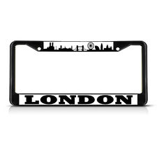 LONDON FLAG Black Heavy Duty Metal License Plate Frame Tag Border