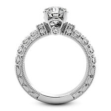 Solitaire Antique 1.66 Carat VS2/H Round Diamond Engagement Ring 14K White Gold