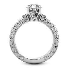 1 CT ROUND CUT ENHANCED DIAMOND ENGAGEMENT RING VS D 14K WHITE GOLD