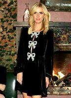 New 2020 Saloni Camille Pearl Bows Embellished Velvet Cocktail Dress UK 10 US 6
