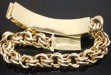 "10K Yellow Gold Chino Link ID Bracelet For Men's 8.5"" Long, Rope Franco 63 grams"