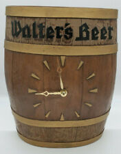 Vintage WALTER'S BEER BARREL STYLE CLOCK MADE BY BURWOOD PRODUCTS CO., U.S.A