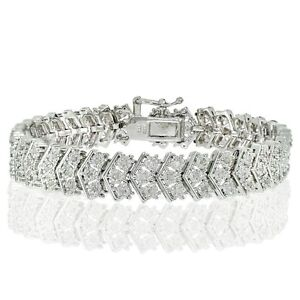 1ct Natural Diamond Miracle Set Chevron Bracelet, Gold Rose Silver Plated Brass