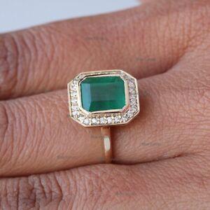 Certified 1.49ct Octagon Emerald Diamond Halo Bezel Ring 14k Yellow Gold Jewelry