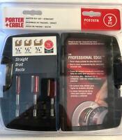 """Porter Cable PC03STR 3 Piece Straight Router Bit Set & Case 1/4"""" Shank"""