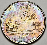 2004-P FLORIDA STATE QUARTER MULTI COLOR TONED UNCIRCULATED CHOICE BU