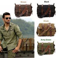 Men's Vintage Canvas Leather Satchel Military Large Shoulder Bag Messenger Bag