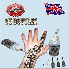 2x Henné Tatuaggio Temporaneo Applicatore Bottiglie KIT con 4 Punte