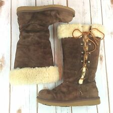 RARE UGG Boots Size 7 Upside Suede Tall Sheepskin Leather Brown Lace Womens UGGS