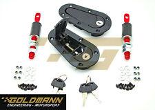 Universal Aerocatch lock black Motorhauben Schnellverschluss Set  Motorsport