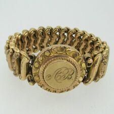 Vintage Gold Tone Round Sweetheart Signet Ab Expandable Bracelet
