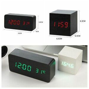 Modern Wooden Wood Digital LED Display Desk Alarm Clock Temperature USB/Battery