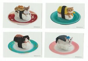 Set of 10 Sushi Cat Vending Stickers! Brand new! Cats dressed as Sushi! Funny!