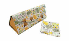 Yellow Blossom Foldable Glasses Case Sunglasses Box with Matching Cleaning Cloth