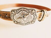 Nocona Size 30 Genuine Leather Brown Embossed Belt With Silver Toned Rodeo Belt