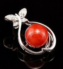Natural aka red coral and diamond pendant with 14 Karat white gold setting