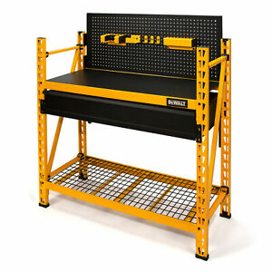 Dewalt 4 ft. Tall 2 Shelf Storage Rack Work Station Kit with Pegboard 41631