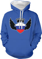 Russian Shield Crest Wings Russia Flag Colors From RU Two Tone Hoodie Sweatshirt