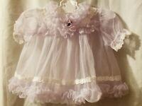 Vintage 1960's Baby Girls Mauve Purple Sheer Ruffle Dress 0-3M ? See Measurement