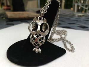 Owl Pendant Silver Chain Necklace