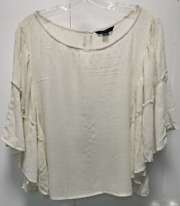 NWOT American Eagle Outfitters Blouse Top Cream Short Sleeve Women Size XL