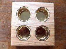 4er Teelichthalter Lichtinsel Kerzenständer Holz Teelicht rustikal Eierhalter