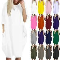 Women Fashion Midi Dress Soild Color Ladies O Neck Long Sleeve Female Dresses