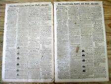 2 original 1788 Pennsylvania Packet newspapers from PHILADELPHIA - 230 years old