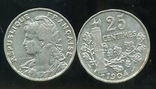 FRANCE 25 centimes  1904  PATEY ( etat )