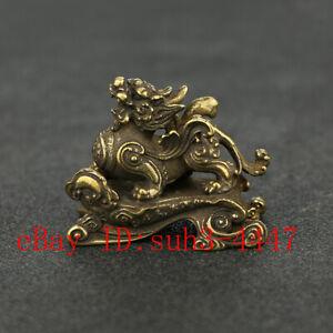 Chinese Handmade Copper  Brass Kirin Small Fengshui Statue Ornament