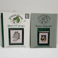 Dragon Dreams Lot of 2 Cross Stitch Charts Blackwork Dragon & Kitten Kaboodle