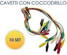 Set 10 pezzi cavetti cavi ponticelli con pinze a coccodrillo colorati da 46cm