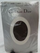 Vintage Christian Dior Pin Stripe Sandalfoot Pantyhose in Loden Brown Green Sz 4