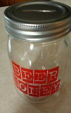 Glass Mason Jar Contribution Fund 'Beer Money'- 16 Ounce Capacity