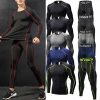 Mens Compression Tops Athletic Leggings Running Gym Base Layers Sportswear Set