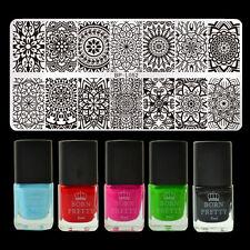 Nagel Stamping Schablone Platte Mandala Muster & 5x 6ml Stempellack Polish DIY