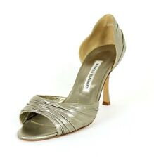 MANOLO BLAHNIK Metallic Pewter Leather Ruched d'Orsay Heels Sandals 39.5