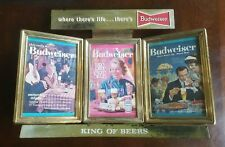 """New listing Vintage and Rare """"where there's life.there's Budweiser"""" Sign w/ 3 Ads"""