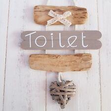 Shabby Chic Driftwood Bagno WC la porta del bagno in VIMINI Cuore Placca Segno _