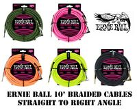 **ERNIE BALL 10' or 18' BRAIDED INSTRUMENT/GUITAR CABLE - 5 COLOR CHOICES**