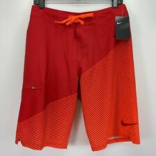 Nike Mens Jackknife 22'' Colorblocked Board Shorts Red Orange 30